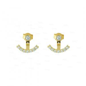 14K Gold 0.64Ct. Genuine Diamond Classic Ear Jacket Wedding Earring Fine Jewelry