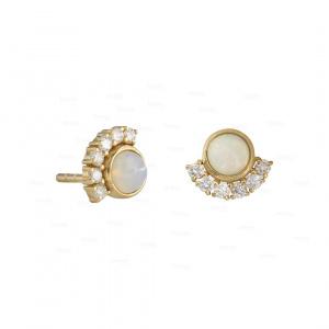 0.15Ct. Genuine Diamond Opal Stone Luna Moon Earring in 14k Gold Fine Jewelry