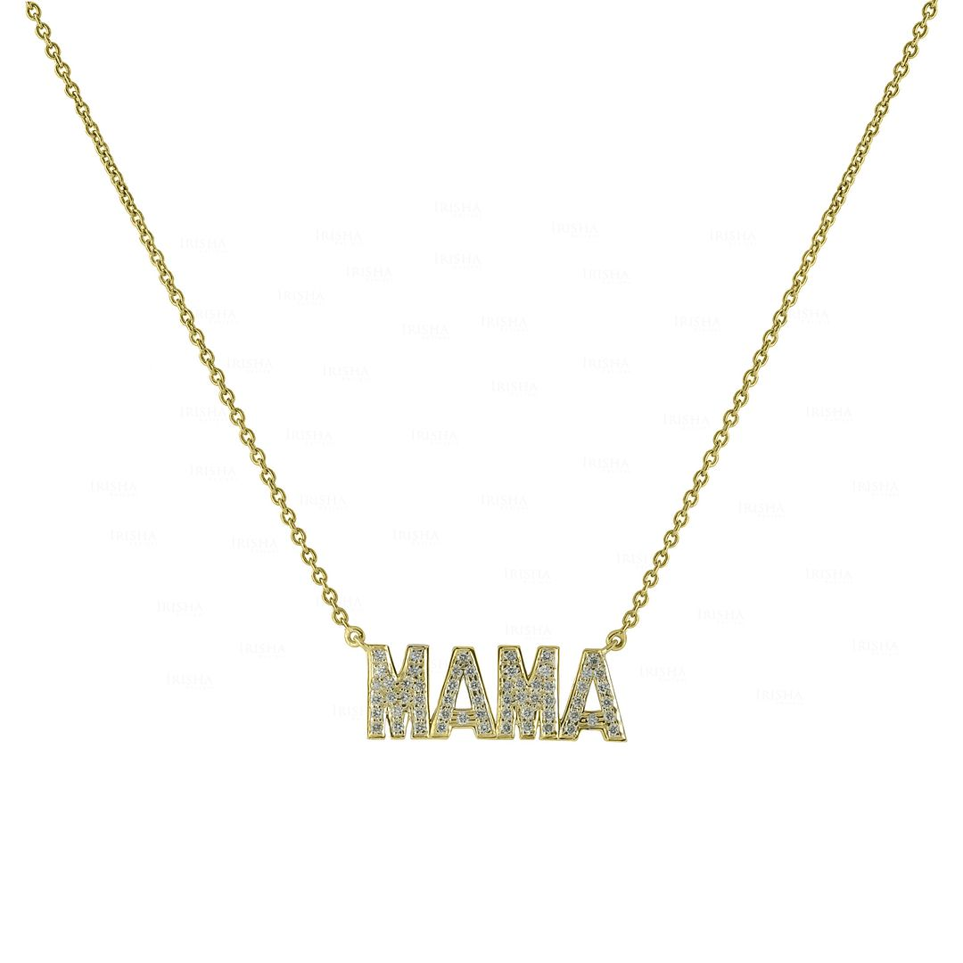 14K Gold 0.50 Ct. Genuine Diamond MAMA Charm Pendant Necklace Gift For MOM