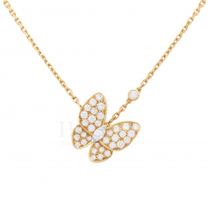 0.42 Ct. Genuine Diamond Butterfly Charm Pendant in 14k Gold Fine Jewelry
