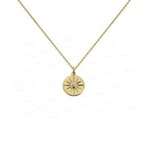 14K Gold 0.05 Ct. Genuine Diamond Sun Disc Charm Pendant Necklace Fine Jewelry