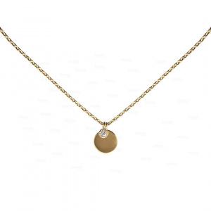 14K Gold 0.06 Ct. Genuine Diamond Disc Charm Pendant Necklace Fine Jewelry