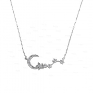 14K Gold 0.30 Ct. Genuine Diamond Crescent Moon Star Necklace Christmas Gift