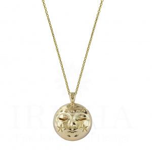 14k Solid Gold Moon Design Celestial Design Christmas Gift Pendant