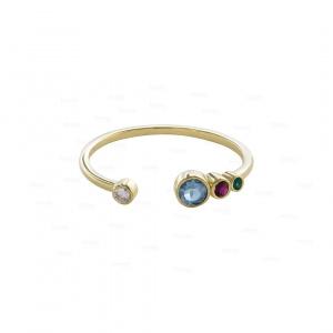 14K Gold Genuine Diamond Aquamarine Ruby Emerald Gemstone Open Cuff Fine Ring
