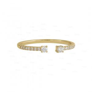 Genuine Diamond Open Cuff Ring 14K Gold Fine Jewelry Size-3 to 8 US