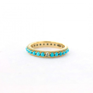 VS Diamond Natural Creation Turquoise Eternity Gifting Ring in 14k Gold Band