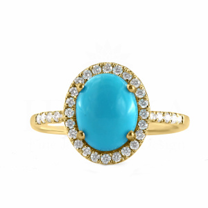 0.32Ct. Genuine Diamond Turquoise Stone Halo Design Ring 14k Gold Fine Jewelry