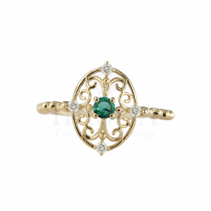 Genuine Diamond And Emerald Gemstone Vintage Ring 14K Gold Fine Jewelry
