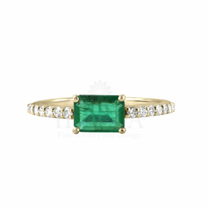 0.75 Ct. Genuine Emerald Stone Diamond Ring in 14k Gold Fine Jewelry