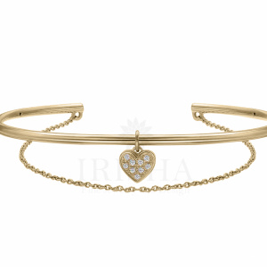 14K Gold 0.08 Ct. Genuine Diamond Heart Cuff Bangle Bracelet Fine Jewelry