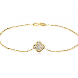 Real Diamond Floral Milgrain Charm Chain Bracelet 14K Gold Fine Jewelry