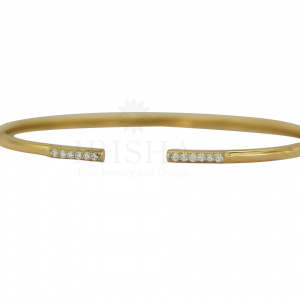 Genuine Diamond Open Cuff Bangle Bracelet 14K Gold Handmade Fine Jewelry