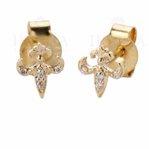 0.04 Ct. Genuine Diamond Fleur-di-lis Design Stud Earrings in 14k Gold