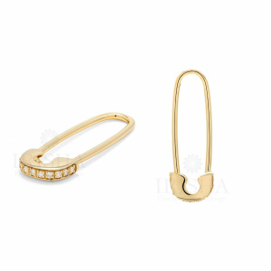 1/10 Ct. VS Clarity Earth Mined Diamond Safety Pin Minimalist 14k Gold Earrings