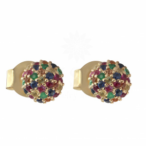 1.00Ct. Genuine Diamond Multi Sapphire Stone Half Ball Design 14k Gold Earring