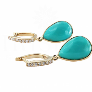 Genuine Diamond And Turquoise Gemstone Drop Huggie Hoop Earrings 14K Gold