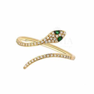 Diamond Snake Ring Ruby-Emerald-Blue Sapphire 14K Solid Gold Fine Jewelry