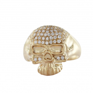 1.00Ct. Genuine Diamond Halloween Theme Skull Design Ring 14 Gold Fine Jewelry