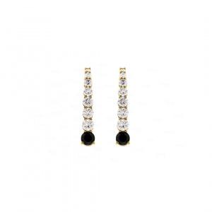 Black n White Diamond Drop Earrings
