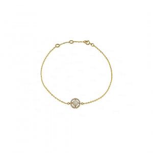 14K Yellow Gold Genuine Diamond And Opal Gemstone Chain Bracelet  - New Arrival