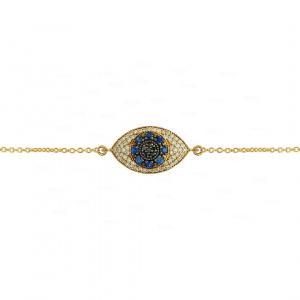 Genuine Diamond And Blue Sapphire Evil Eye 14K Gold Bracelet Fine Jewelry