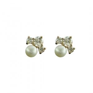 14K Yellow Gold Genuine Diamond And Pearl Gemstone Tiny Minimalist Studs Earring