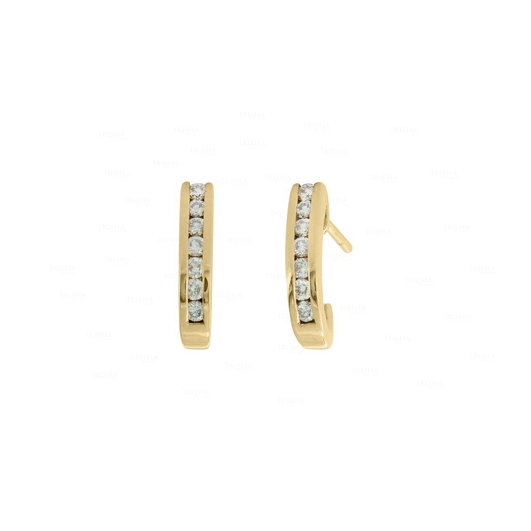 14K Gold 0.21 Ct. Genuine Diamond Tiny Huggie Earrings Wedding Fine Jewelry