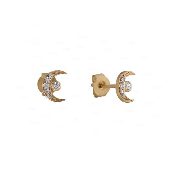 14K Gold 0.16 Ct. Genuine Diamond Crescent Moon Studs Earrings Celestial Jewelry