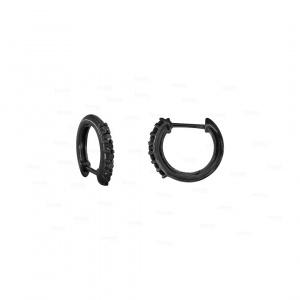 Natural Black Diamond Hoop Earrings in 14k Plain Solid Gold Fine Jewelry