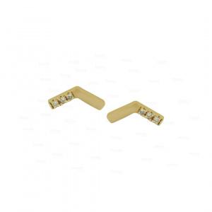 14K Gold 0.04 Ct. Genuine Diamond Honeycomb Tiny Stud Earrings Fine Jewelry