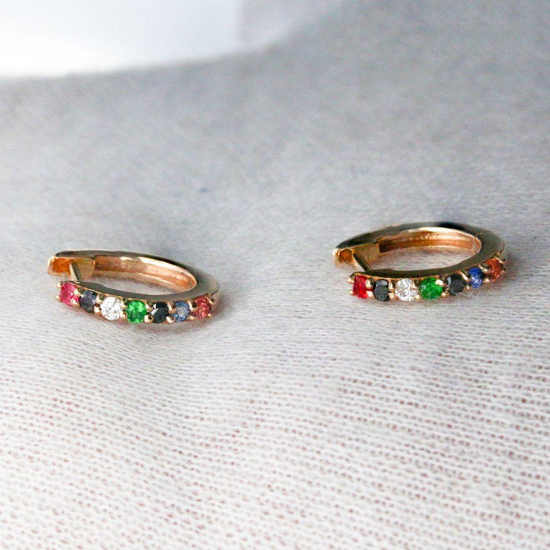14K Yellow Genuine White-Black Diamond And Multi Sapphire Gemstone Hoop Earrings