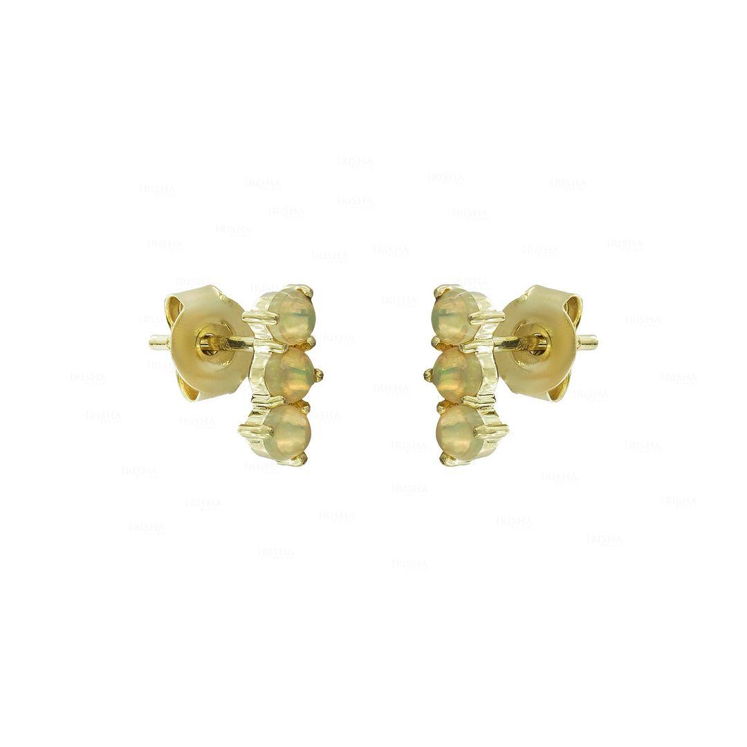 14K Gold 0.20 Ct. Genuine Opal Gemstone Tiny Stud Earrings Fine Jewelry