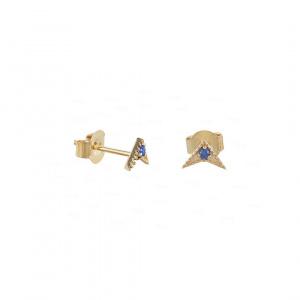 14K Gold 0.04 Ct. Genuine Blue Sapphire Gemstone Minimalist Studs Fine Earrings