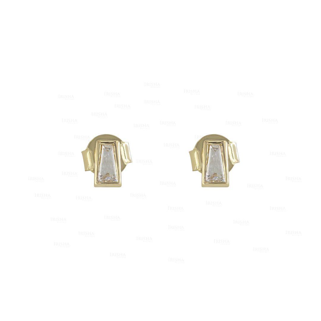 14K Gold 0.12 Ct. Genuine Tapered Baguette Diamond Studs Earrings Fine Jewelry
