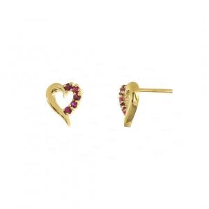 14K Gold 0.20 Ct. Genuine Ruby Gemstone Heart Earrings Fine Jewelry
