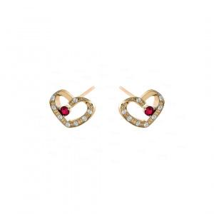 14K Gold Genuine Diamond And Ruby Gemstone Heart Earrings Fine Jewelry