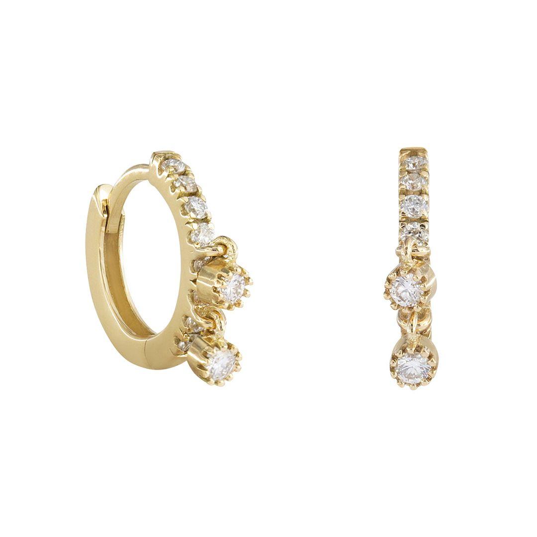 14K Yellow Gold 0.25 Ct. Genuine Diamond Minimalist Hoop Earrings Fine Jewelry