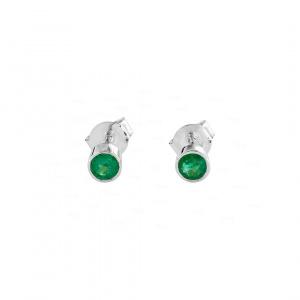 14K White Gold 0.30 Ct. Genuine Emerald Gemstone Bezel Set Studs Earrings