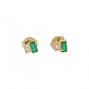 Diamond-Emerald Baguette Studs