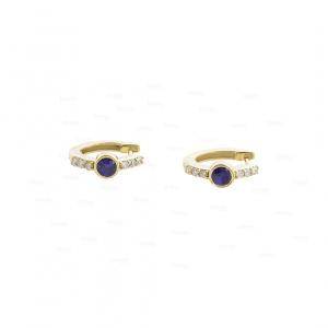Diamond Blue Sapphire Hoops