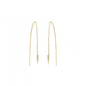 14K Gold 0.10 Ct. Genuine Diamond Bar Dagger Chain Threader Earring Fine Jewelry