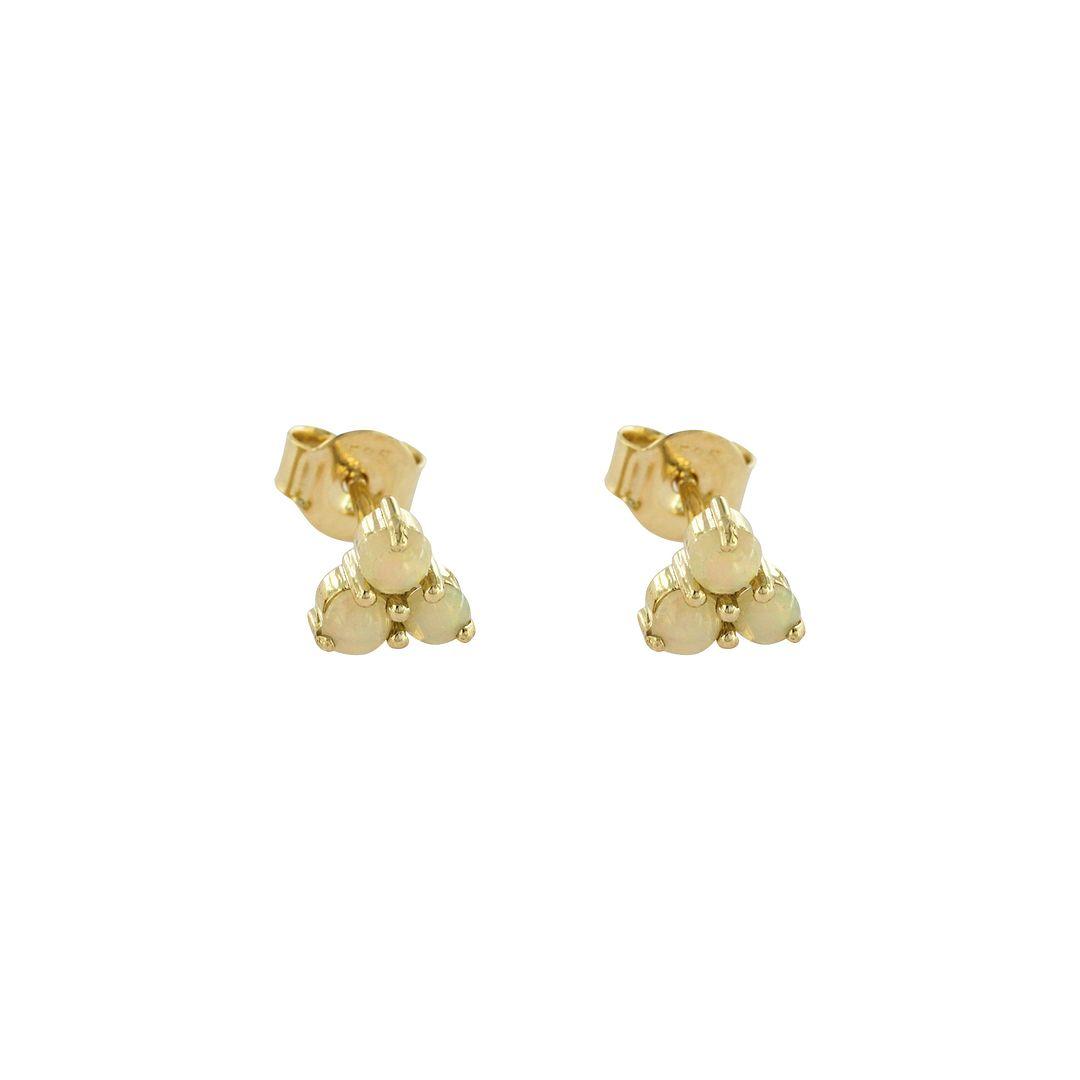 14K Yellow Gold Genuine Opal Gemstone Mini Studs Earrings Christmas Gift