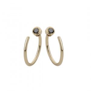 Black Diamond Mini Hoop Earrings Solid 14k Yellow Gold Bridal Minimalist Jewelry