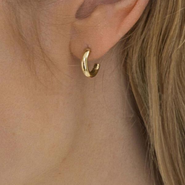 14K Solid Gold 14 mm Minimalist Huggie Hoop Earrings Fine Jewelry
