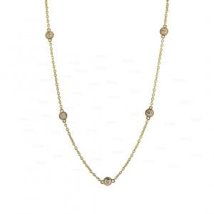 Wedding Necklace 0.25 Ct. Genuine Diamond 14K Gold Fine Jewelry