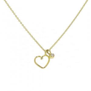 14K Gold 0.05 Ct. Genuine Ruby Love Heart Pendant Necklace Fine Jewelry