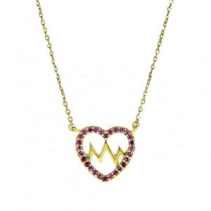 14K Gold 0.30 Ct. Genuine Pink Tourmaline Love Heartbeat Fine Necklace