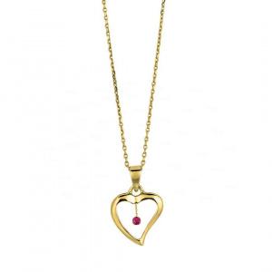 14K Gold 0.05 Ct. Genuine Ruby Gemstone Love Heart Necklace Fine Jewelry