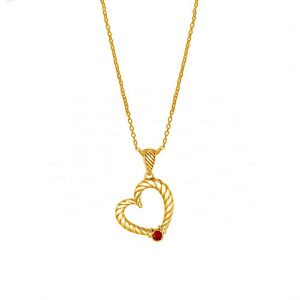 14K Gold 0.05 Ct. Genuine Ruby Rope Finish Heart Fine Necklace Fine Jewelry